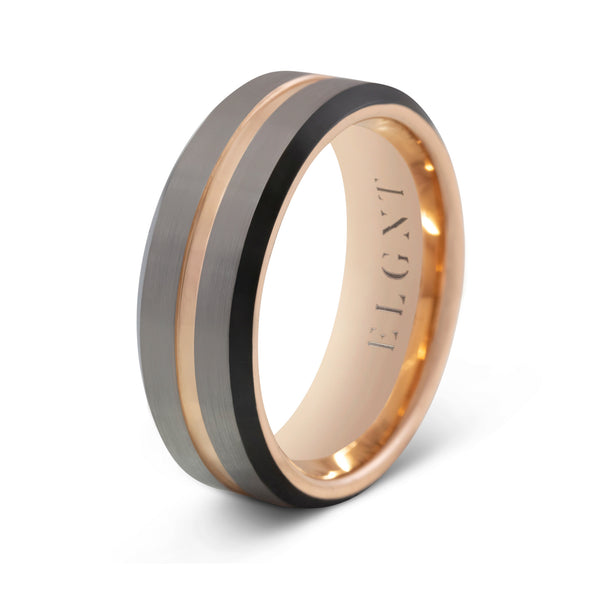 Consistent 8mm Silver & Rose Gold Tungsten Ring - Mens Wedding Band elgntdesigns