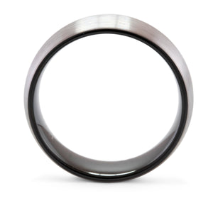 Respect 8mm Silver & Black Tungsten Ring - Mens Wedding Band elgntdesigns