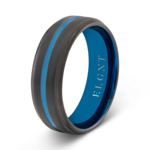 Generosity 8mm Blue & Black Tungsten Ring - Mens Wedding Band elgntdesigns