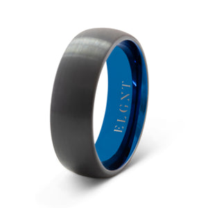 Heritage 8mm Black & Blue Tungsten Ring - Mens Wedding Band elgntdesigns