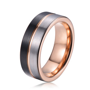 Kind 8mm Black, Silver & Rose Gold Tungsten Ring