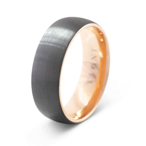Perspective 8mm Black and Gold Tungsten Ring - Mens Wedding Band elgntdesigns