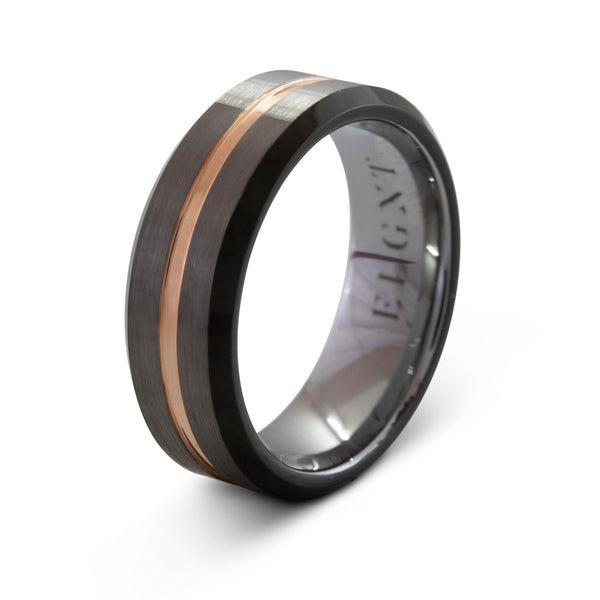 Attentive 8mm Silver & Rose Gold Ring - Mens Wedding Band elgntdesigns