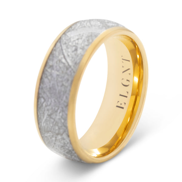 Dreamer 8mm Meteorite & Gold Tungsten Ring