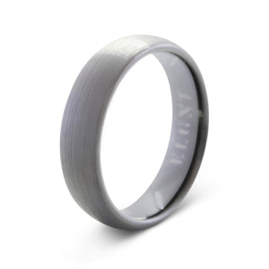 Respect 6mm Silver & Black Tungsten Ring - Mens Wedding Band elgntdesigns