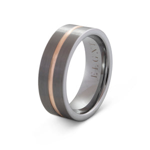 Responsible 8mm Silver & Rose Gold Tungsten Ring