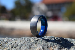 Persistence 8mm Blue & Silver Tungsten Ring