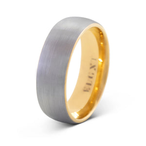 Impulse 8mm Silver & Yellow Gold Tungsten Ring - Mens Wedding Band elgntdesigns