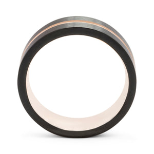 Proud 8mm Black & Rose Gold Tungsten Ring