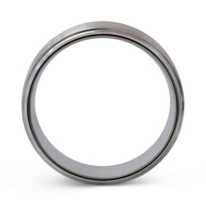 Committed 8mm Brushed Silver Tungsten Ring - Mens Wedding Band elgntdesigns