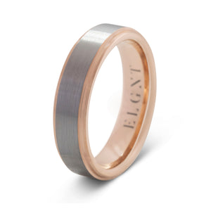Honest 6mm Silver & Rose Gold Tungsten Ring - Mens Wedding Band elgntdesigns