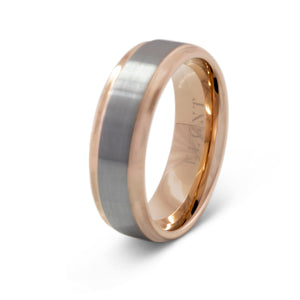 Honest 8mm Silver & Rose Gold Tungsten Ring - Mens Wedding Band elgntdesigns