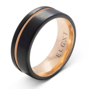 Wisdom 8mm Black & Rose Gold Tungsten Ring - Mens Wedding Band elgntdesigns