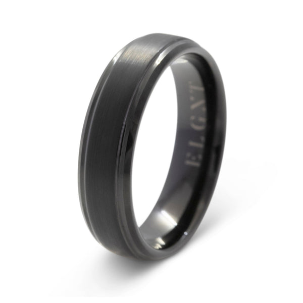 Alpha 6mm Black Tungsten Ring - Mens Wedding Band elgntdesigns