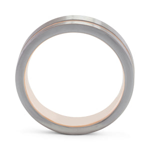 Reliable 6mm Silver and Rose Gold Tungsten Ring - Mens Wedding Band elgntdesigns