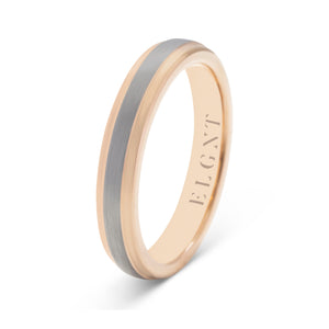 Honest 4mm Brushed Silver and Rose Gold Tungsten Ring - Mens Wedding Band elgntdesigns