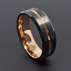 Confidence 8mm Black and Rose Gold Tungsten Ring