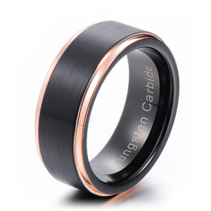 Balanced 8mm Black & Rose Gold Tungsten Ring