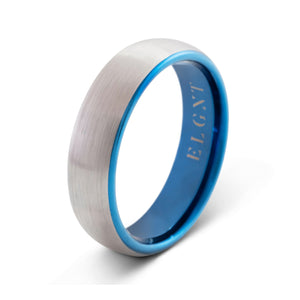 Persistence 6mm Blue & Silver Tungsten Ring - Mens Wedding Band elgntdesigns