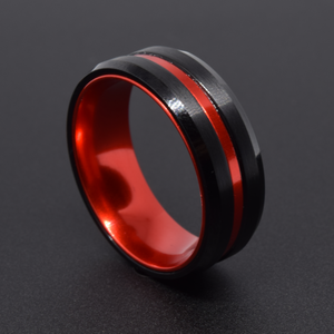 Humor 8mm Red & Black Tungsten Ring