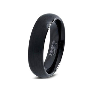 Loyalty 6mm Black Tungsten Ring - Mens Wedding Band elgntdesigns