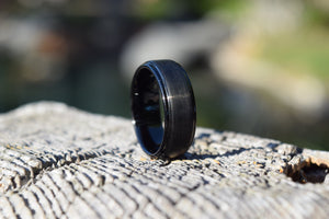 Alpha 8mm Black Tungsten Ring - Mens Wedding Band elgntdesigns