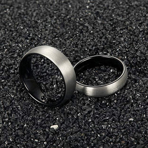 Respect 6mm Silver & Black Tungsten Ring