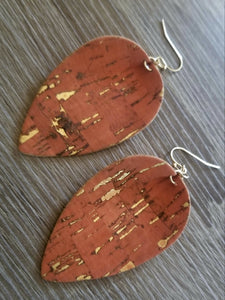 Cork Leaf Earrings ~Burnt Orange~