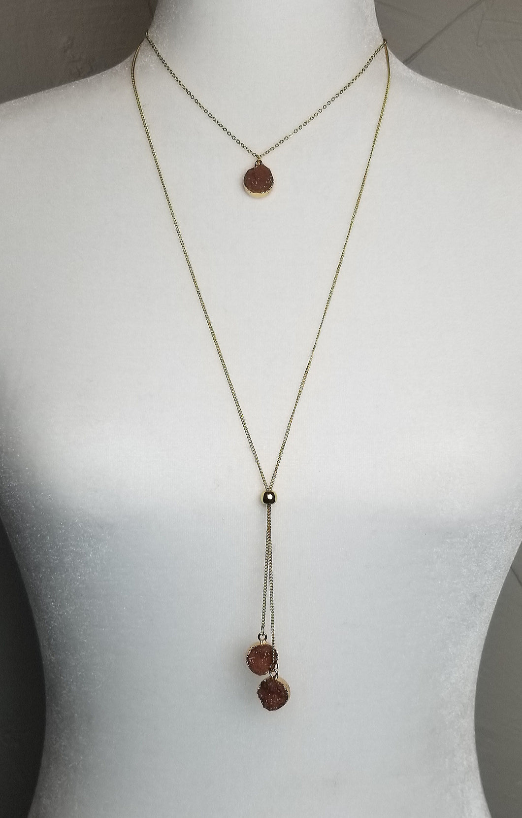 Druzy Stagger Necklace ~Rose Gold~