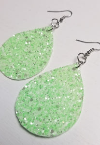 Mint Faux Leather Earrings