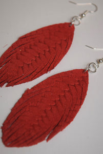 Long Braided Leather Feather Earrings ~Red~