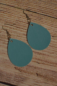 Turquoise Faux Leather Earrings