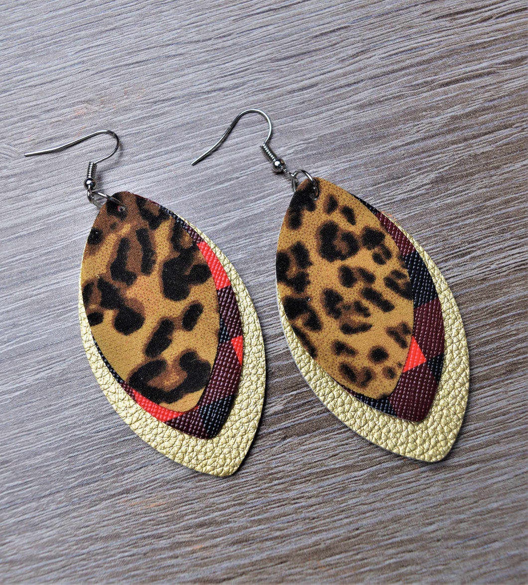 Stacked Leather Earrings
