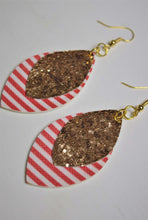 Load image into Gallery viewer, Double Stacked Striped/Glitter Earrings
