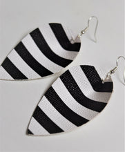 Load image into Gallery viewer, Faux Leather Earrings ~Blk/Wt Stripe~