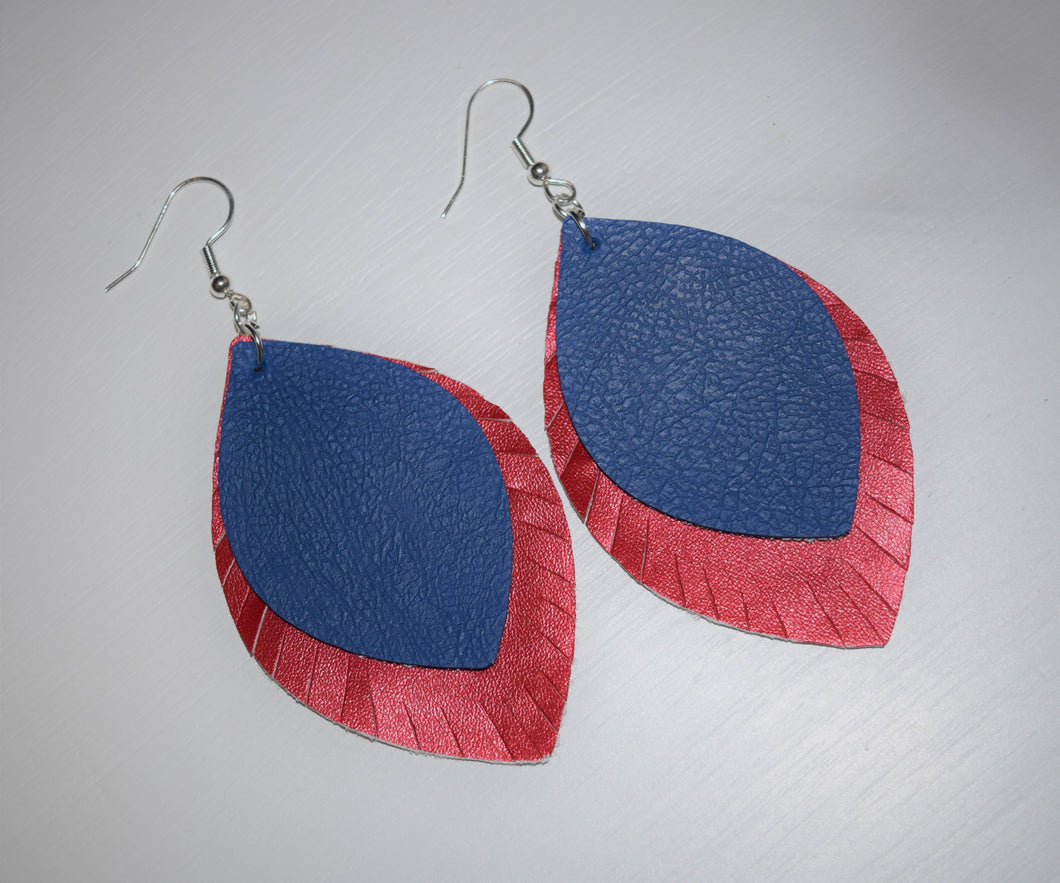 Red/Blue Stacked Earrings