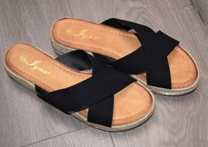 Black Crisscross Sandals
