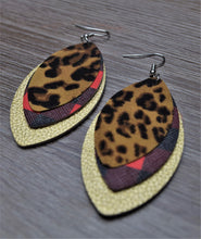 Load image into Gallery viewer, Stacked Leather Earrings