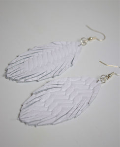 Long Braided Leather Feather Earrings ~White~