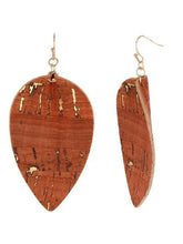 Load image into Gallery viewer, Cork Leaf Earrings ~Burnt Orange~
