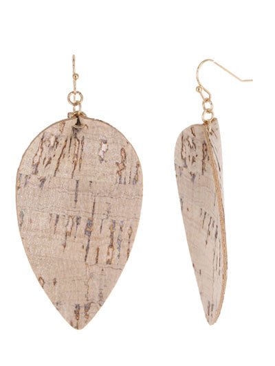 Tan Cork Leaf Earrings