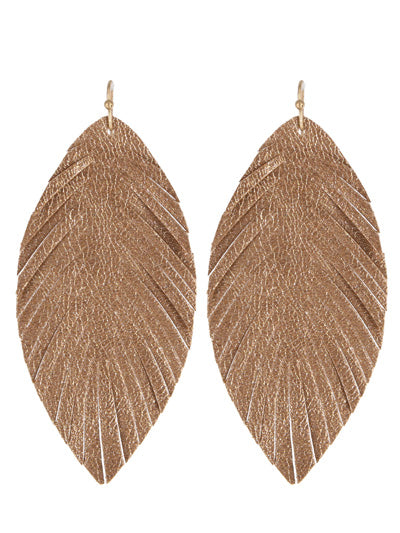 Rose Gold Shiny Leaf Earrings
