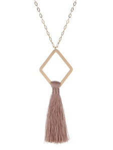 Tassel Pendant Necklace ~Dusty Pink~