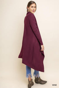 High-Low Knit Cardigan ~Wine~