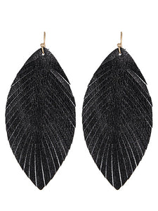 Black Shiny Leaf Earrings