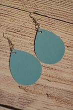 Load image into Gallery viewer, Turquoise Faux Leather Earrings