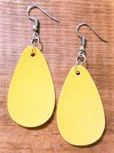 Load image into Gallery viewer, Yellow Faux Leather Earrings