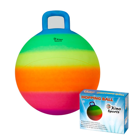 Xino Sports Deluxe Hopping Ball for Kids, Offers Hours of Incredible Fun for Boys and Girls, Amazing Space Hopper Ball, Safe and Durable Jumping Ball with Handle, 18 Inch Diameter - Xino Sports