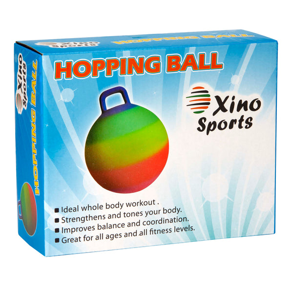 Xino Sports Deluxe Hopping Ball for Kids, Offers Hours of Incredible Fun for Boys and Girls, Amazing Space Hopper Ball, Safe and Durable Jumping Ball with Handle, 18