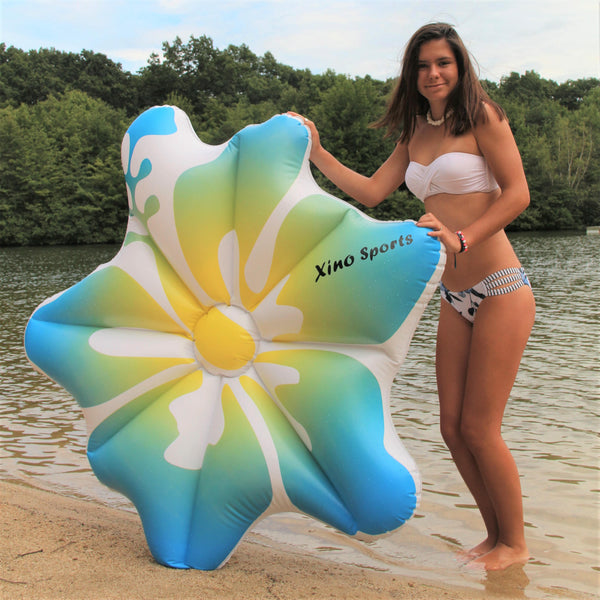 XinoSports Deluxe Hibiscus Pool Floatie, Will Make Every Lady Look Like a Princess, Watch It Become Pool Party Favorite, Comes in Pink and Blue Color - Xino Sports